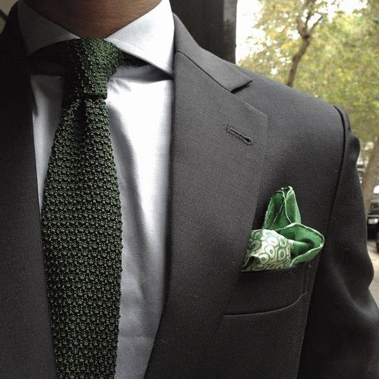 Man With Black Suit Fashionable Style Look Green Tie With Pocket Square