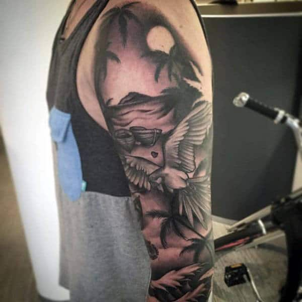 Man With Black Work Parrot On Palm Beech Upper Arm Sleeve Tattoo