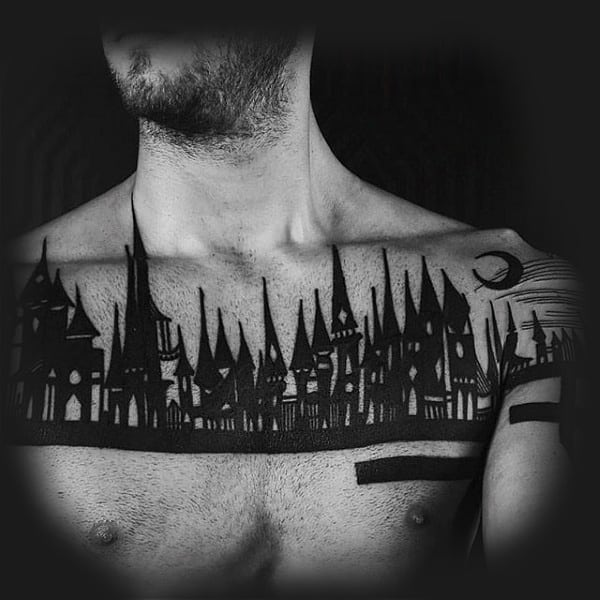Man With Blackwork Castle Tattoo On Chest