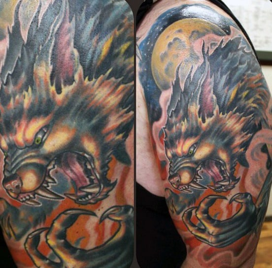 Man With Blazing Hot And Fiery Werewolf Tattoo On Upper Arm