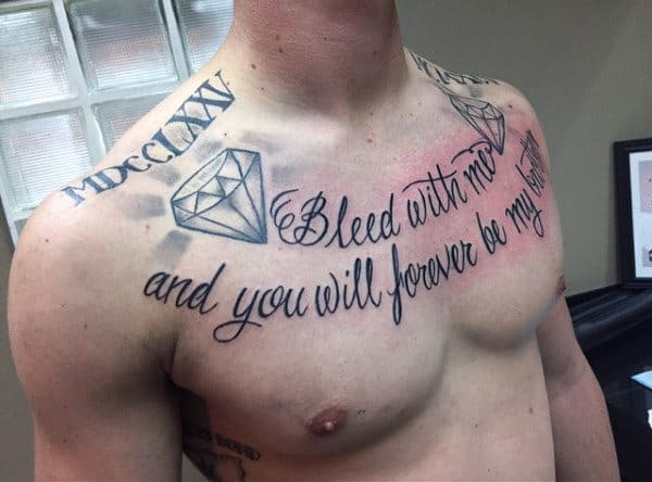 Man With Bleed With Me And You Will Forever Be My Brother Collar Bone Tattoo