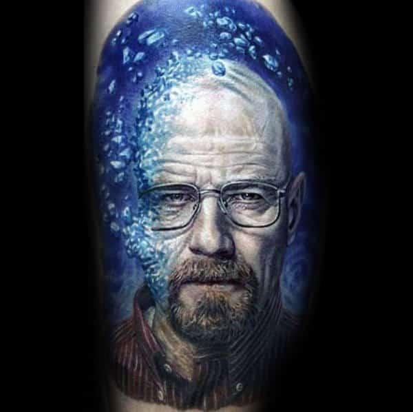 Man With Blue Crystal Breaking Bad Leg Tattoo