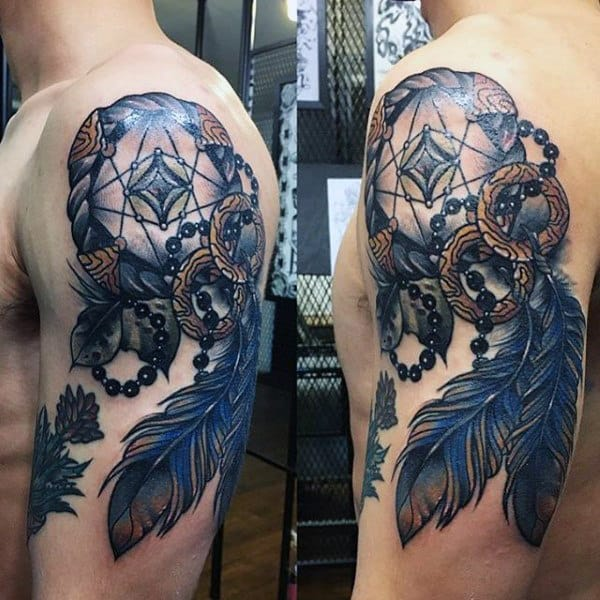 Man With Blue Feather Dreamcatcher Upper Arm Tattoos
