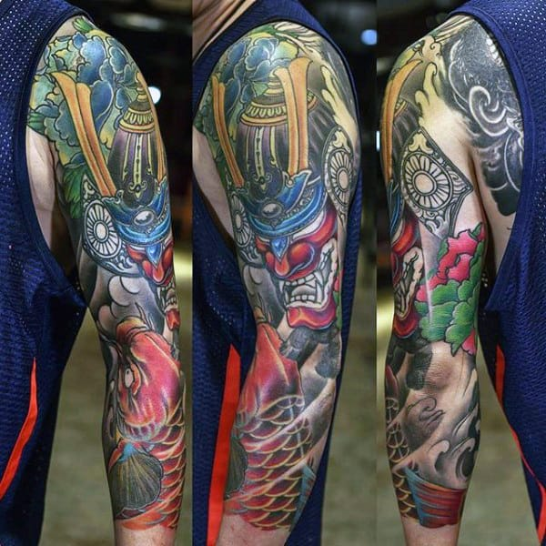 Man With Bold Samurai Mask And Koi Carp Full Sleeve Tattoo