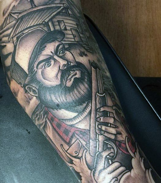 Man With Bow Hunting Tattoo