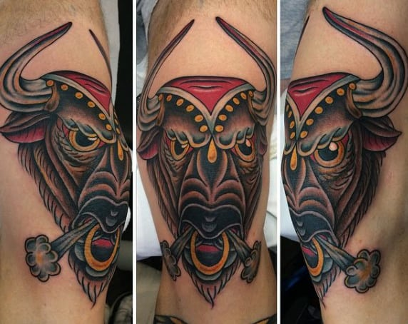 Man With Bull Horn Tattoo In Color Ink