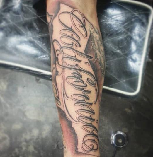 Man With California Forearm Sleeve Tattoo