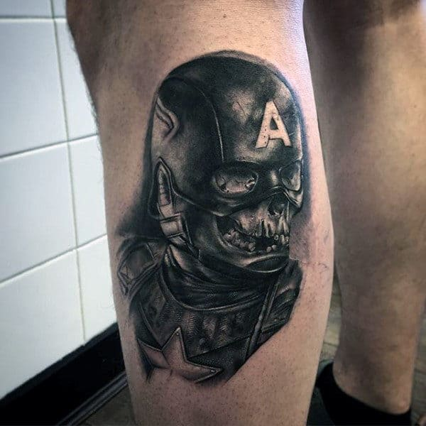 Man With Captain America Skull Tattoo On Leg Calf