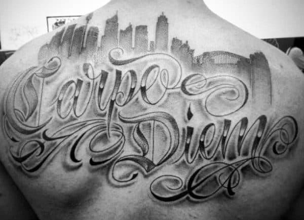 Man With Carpe Diem City Skyline Back Tattoo