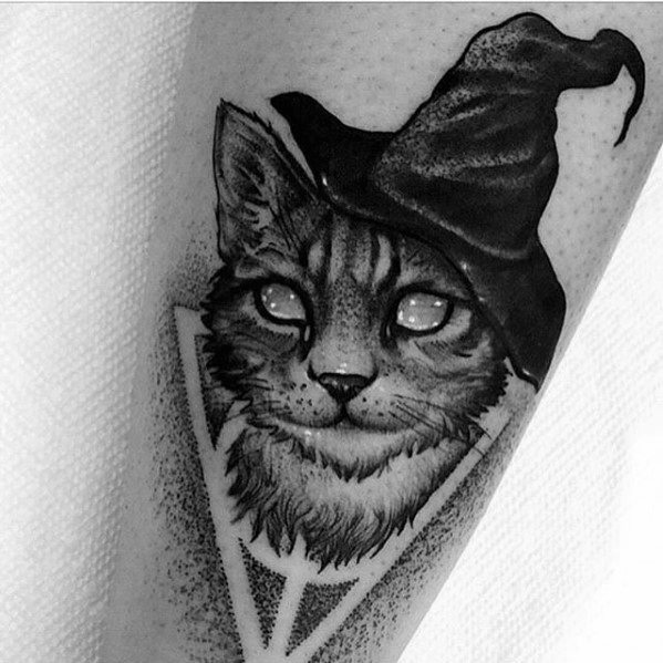 Man With Cat Witch Hat Tattoo Design