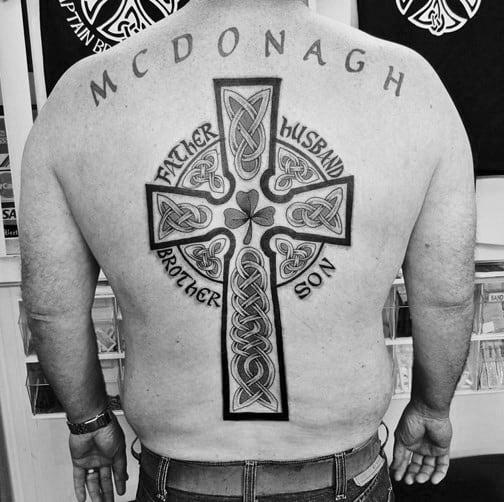Man With Celtic Cross Tattoos On Back Traditional Irish Design