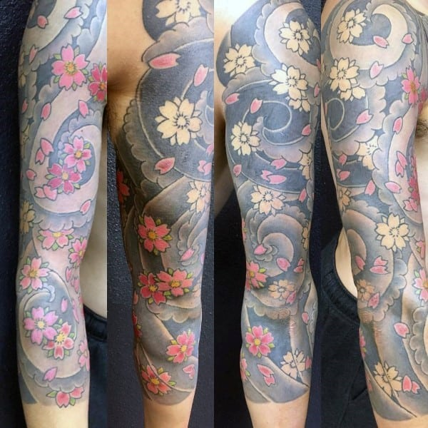 Man With Cherry Blossom Flowers Japanese Tattoo Inspiration Sleeve Design