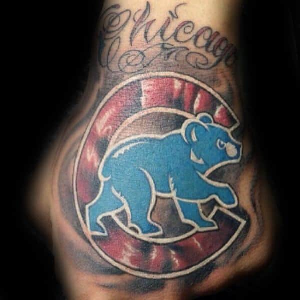 Man With Chicago Cubs Tattoos On Hand