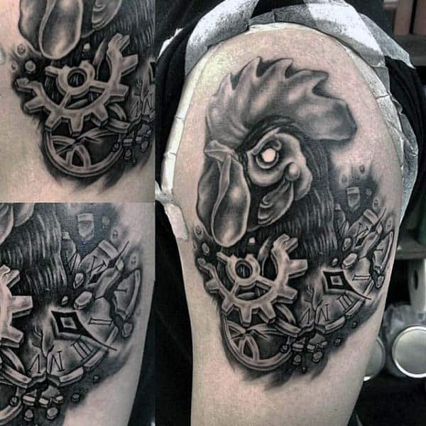 Man With Clockwork Rooster Tattoo On Upperarm In Black Ink