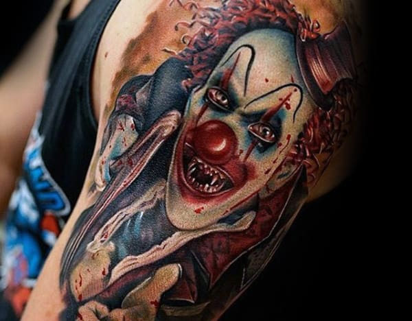 Man With Clown Tattoo On Arm