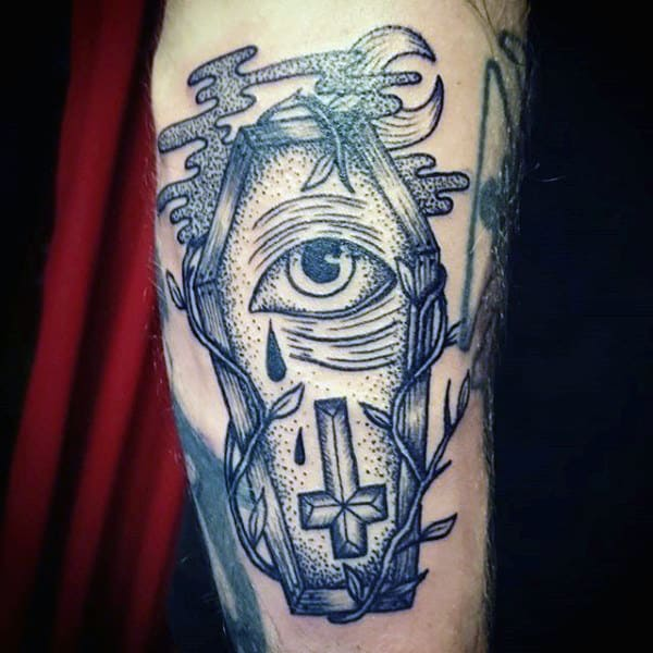 Man With Coffin Eye And Cross Tattoo