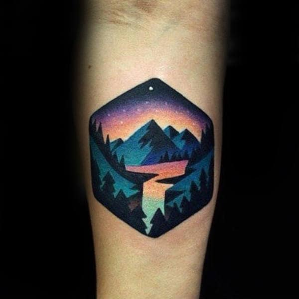 Man With Colorful Mountains Inner Forearms Tattoo