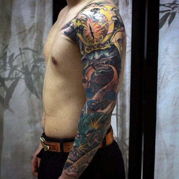 Man With Colorful Samurai Mask And Chinese Dragon Full Sleeve Tattoo
