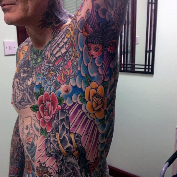 Man With Colorful Tattoo On Armpit