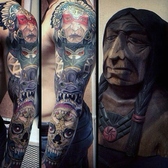 Man With Colorful Traditional Full Sleeve Of Totem Pole And Native American Tattoo