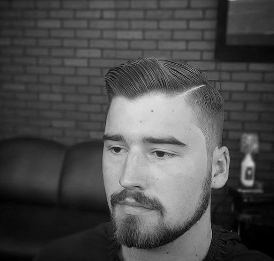 Man With Comb Over Fade Short Length Parted