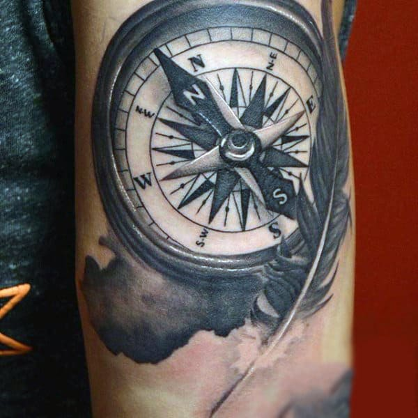 Man With Compass And Feather Tattoo On Shoulder