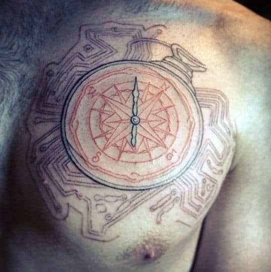 Man With Compass Circuit Board Chest Tattoo