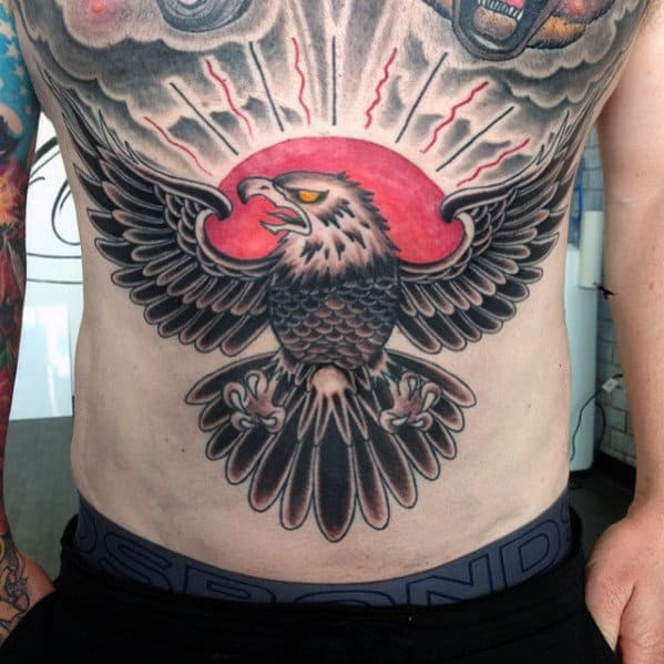 Man With Cool Chest Old School Bald Eagle Tattoo