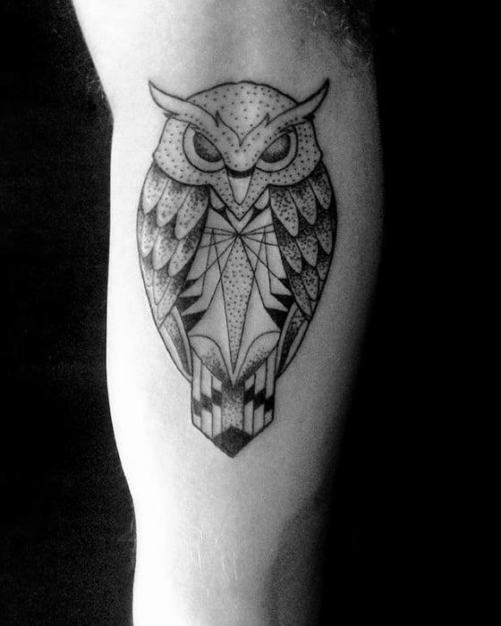 Man With Cool Geometric Owl Inner Arm Bicep Tattoo Design