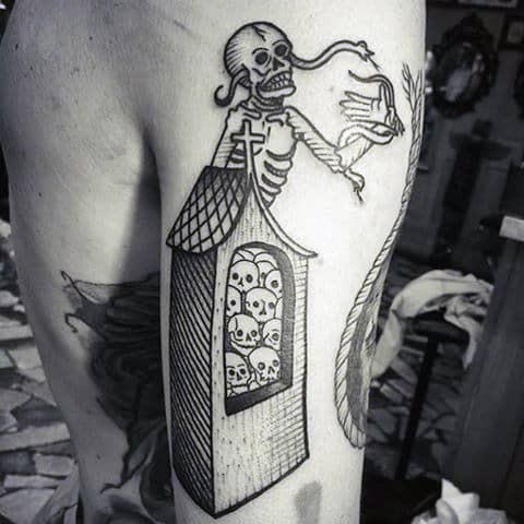Man With Cool Graveyard Tattoo Design