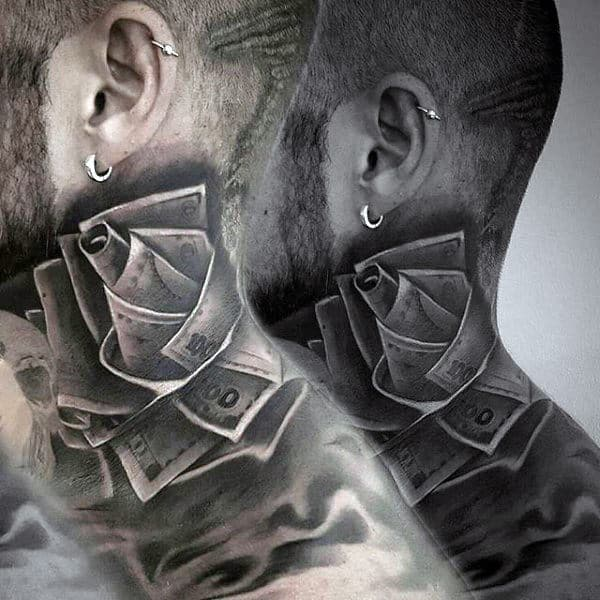 Man With Cool Money Rose Neck Tattoo