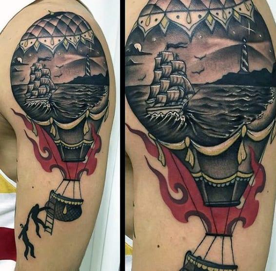 Man With Cool Nautical Hot Air Balloon Upper Arm Tattoo