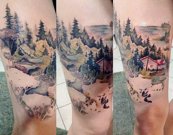 Man With Cool Pine Tree Tattoo Above Knee Cap