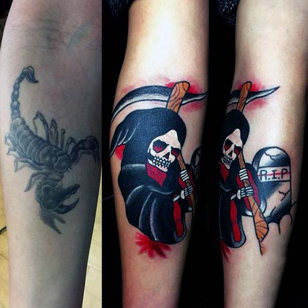 Man With Cover Up Tattoo Of Grim Reaper And Rip Tombstone