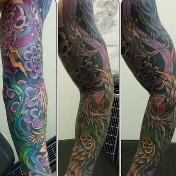 Man With Creative Purple Rooster Tattoo Full Sleeve