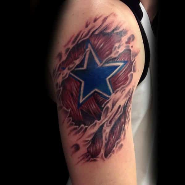 Man With Dallas Cowboys 3d Torn Skin Arm Tattoo With Star Design