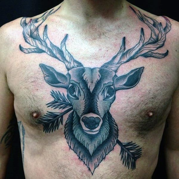 Man With Deer Tattoo On Chest With Arrows
