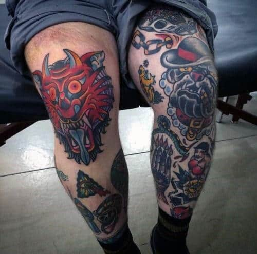 Man With Demon Traditional Leg Knee Tattoo