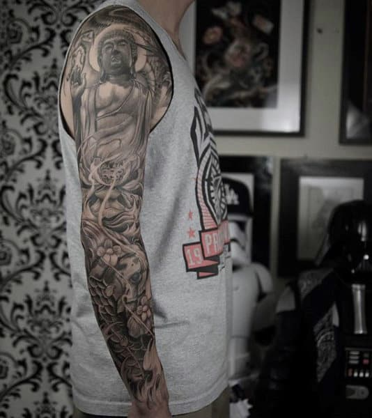 Man With Detailed Buddhism Art Tattoo Full Sleeve Inpsiration
