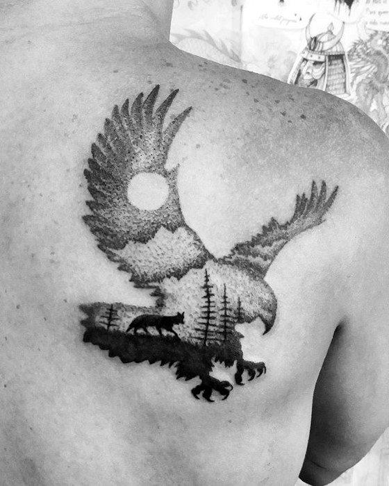 Man With Detailed Eagle Landscape Back Tattoo