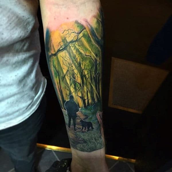 Man With Dog In The Woods Cool Guys Tree Forearm Sleeve Tattoos