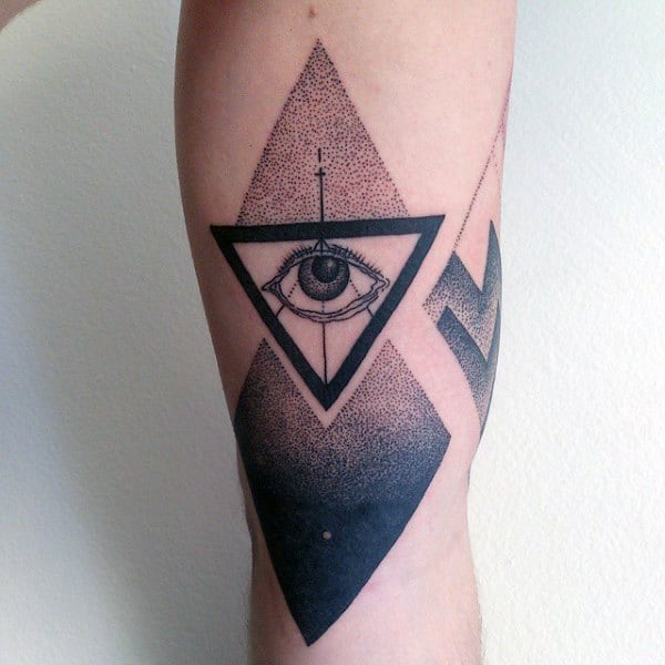 Man With Dotted Grey Traingle Eye Tattoo On Arms