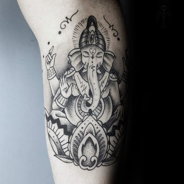 Man With Dotwork Cool Ganesh Inner Arm Tattoo Design