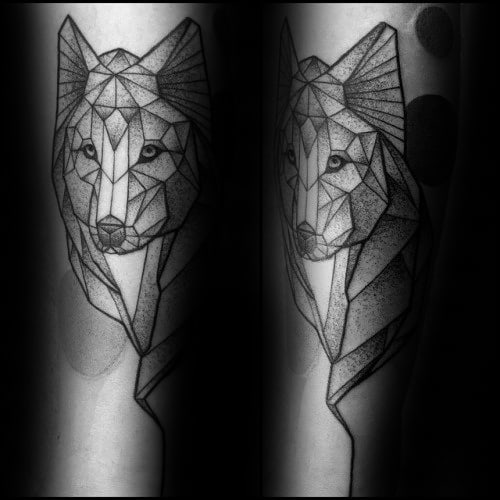 Man With Dotwork Tattoo Of Geometric Wolf