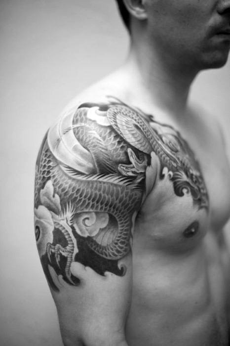 Man With Dragon Japanese Quarter Sleeve And Shoulder Tattoo