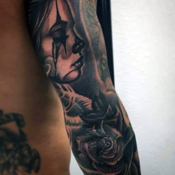 Man With Elbow Sleeve Money Rose Tattoo