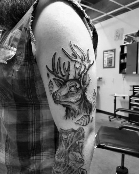 Man With Elk Tattoo Design
