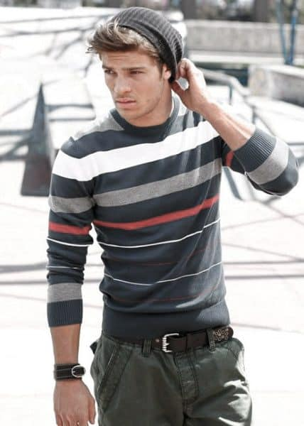 Man With Fall Outfits Fashionable Style Look Striped Long Sleeve Sweater
