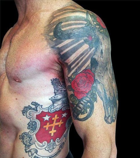 Man With Family Crest Tattoo On Rib Cage Side In Red Ink