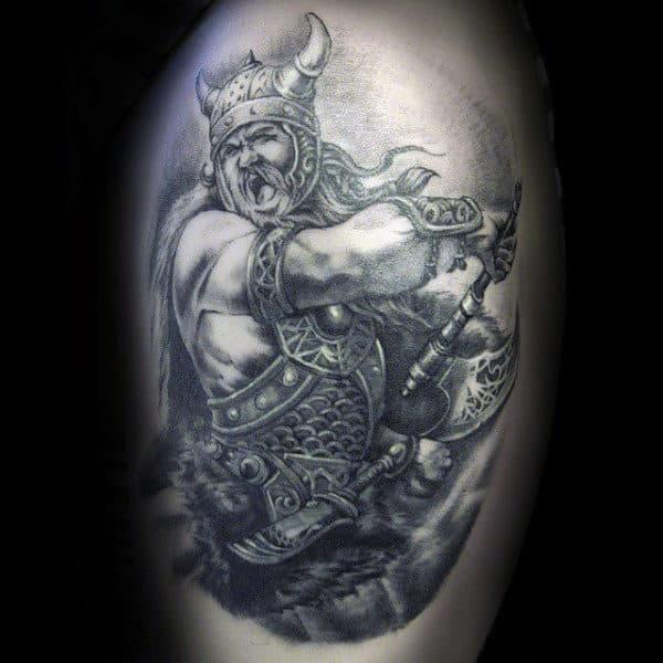 Man With Ferocious Viking Warrior Tattoo On Arms